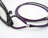 Eyeglass Lanyard, Dark Purple, Leather Cord, Eyeglass Loop, 28-36 inch, Eyeglass Holder, Eyeglass Necklace, Eyeglass Chain, Leather Lanyard,