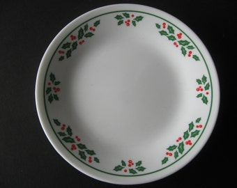 Vintage Corelle Christmas holly small plates set of 6 holiday plates