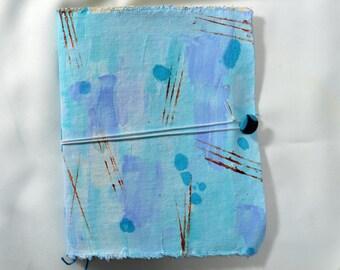 One-of-a-kind handmade canvas art journal, sea mist