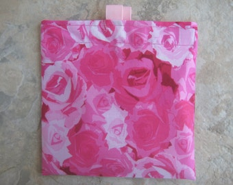 Roses - Reusable Sandwich Bag, Reusable Snack Bag with easy open tabs
