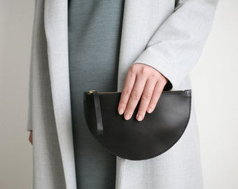 Half Moon Clutch Mini Black, Wallet, Leather Clutch, Evening Bag, Leather Purse