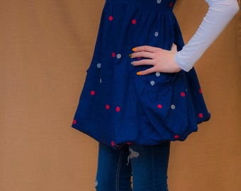 Fun Polka Dot Linen Dress
