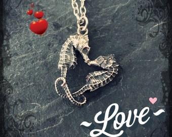 Little pygmy Seahorse Heart Necklace - Valentine, love, Valentines day, seahorse, ocean