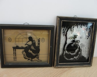 "Vintage silhouettes Painted on glass Pair Deltex ""The Missive"" and ""Glad Tidings"""