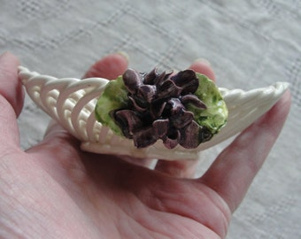 Vintage Clay woven basket Made in Italy miniature with purple flower