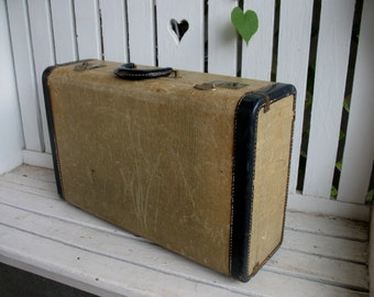 Vintage Suitcase Luggage Tweed with Navy Blue Trim