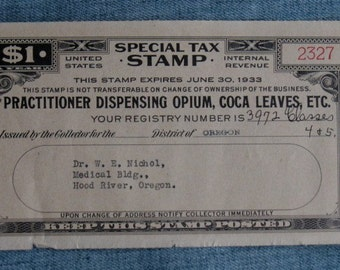 Vintage Doctor Dispensing Opium Coca Leaves Tax Stamp Hood River, Oregon Rare 1933 Internal Revenue