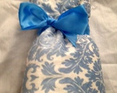Cream Minky Rosebud with Damask Cream-Blue Minky Baby Blanket-Ready to Ship!