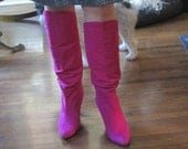 Vintage Tall Suede Boots / Hot Pink Suede Boots Size 9 10 / Alberto D. Molina Boots
