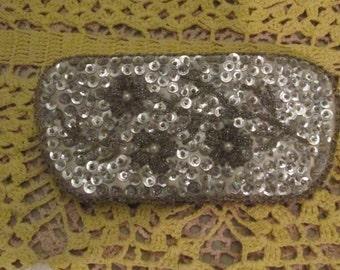 50s Silver Bead Eyeglass Case / Embroidered Eyeglass Holder