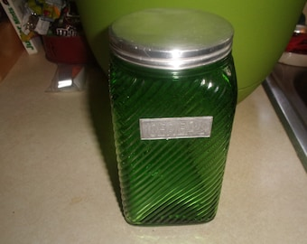 vintage hoosier emerald green ribbed canister jar owens illinoise cereal glass original tin lid
