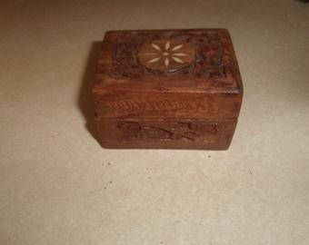 vintage trinket dresser box handcarved wood