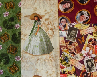 Gone with the Wind Fabrics,  4 Fabrics, Scarlett and Rhett,  Realistic Photos, Janet Leigh, Clark Gable, Movie Posters