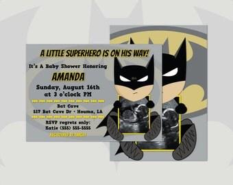 "Batman Ultrasound Baby Shower Invitations Boy DIY Cards Digital Printable Files 5""x7"""