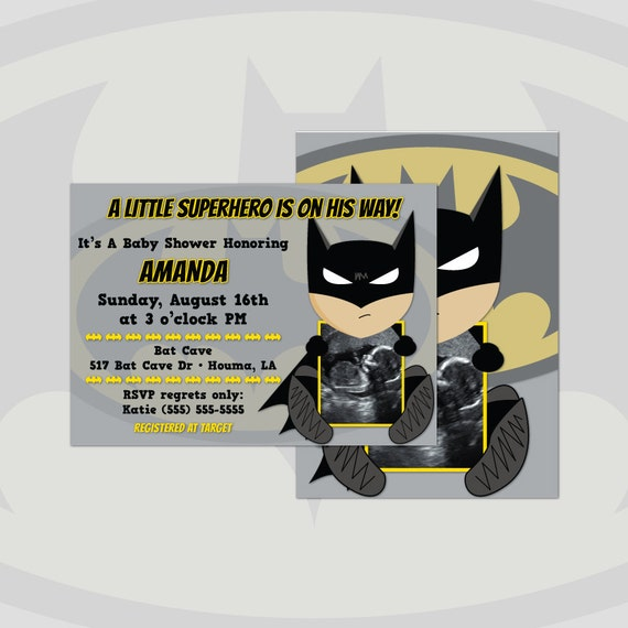 batman ultrasound baby shower invitations boy diy cards digital