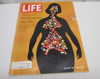 Life Magazine January 1968, Diet Pills, Mafia, Nasa Moon, Swanson vintage advertising