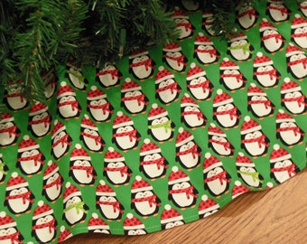 "ON SALE Penguins Christmas Tree Skirt, Penguin Decoration, Red and Green Holiday Decor, Penguin Gift, 42"" Diameter Xmas Tree Skirt"