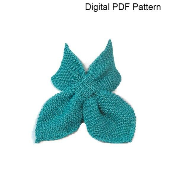 Knit Keyhole Scarf Pattern : Knit Neck Scarf Pattern Ascot Knit PDF Pattern Keyhole Scarf