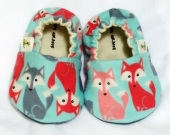 Fox Baby Booties - Newborn, Infant, Baby Slippers, Crib Shoes, Footwear, 3 - 18 Months