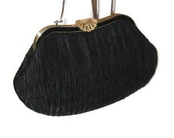 60s Black Clutch Black Evening Bag Black Clutch Purse 1960s Evening Purse Clutch Black Fabric Clutch Ruched Clutch