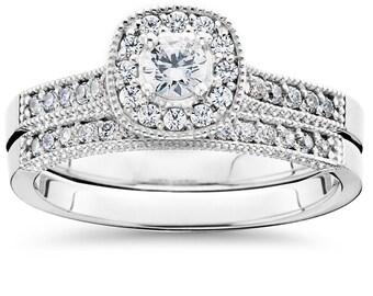 Diamond Engagement Ring Set Halo Vintage Diamond Engagement Ring Matching Band .60CT Engagement Wedding Ring Bridal Set 10K White Gold