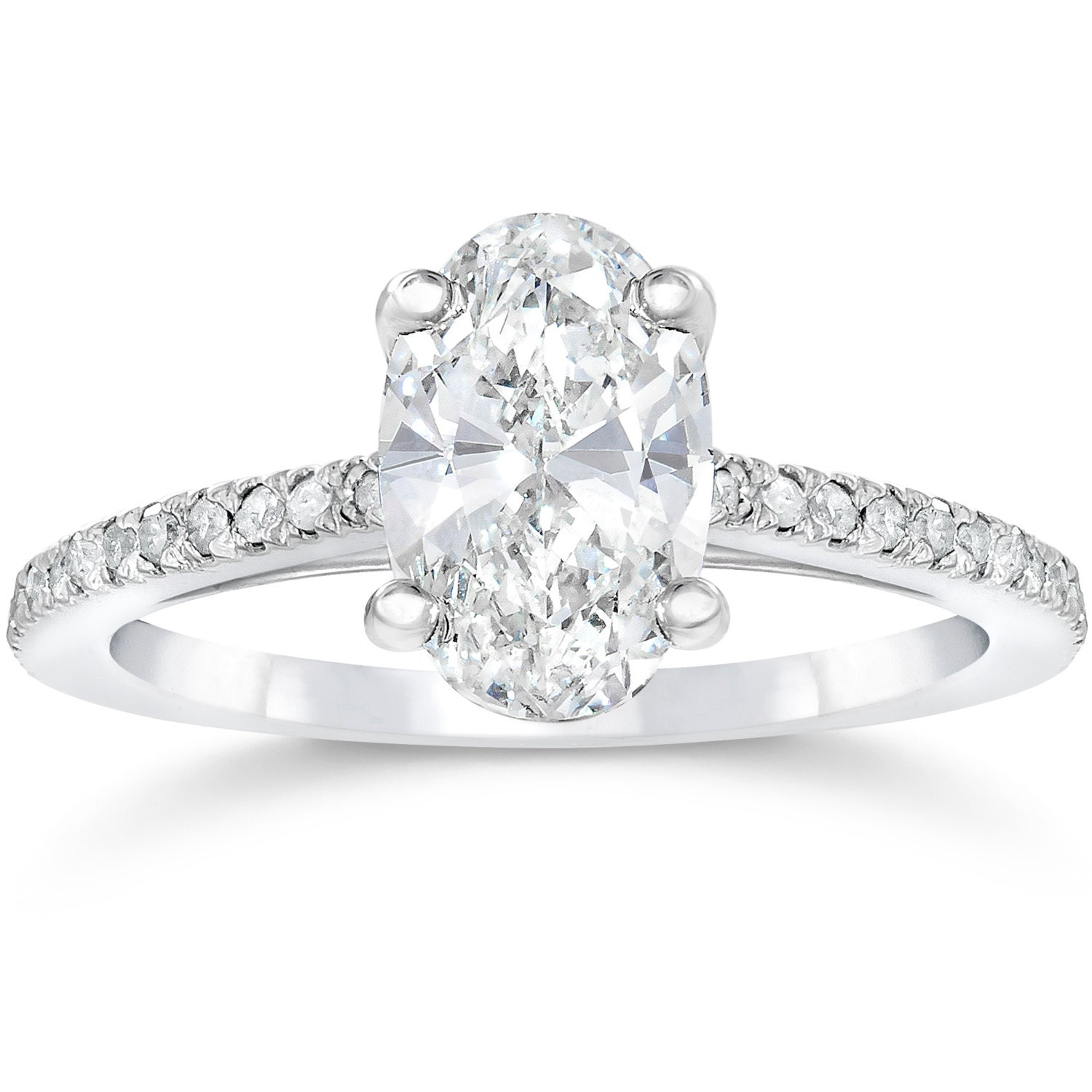 Oval Diamond Engagement Ring Solitaire Oval Diamond Engagement