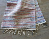 Vintage Rag Rug Runner Hand Woven Multi Colors 23 by 56 Inches 244b