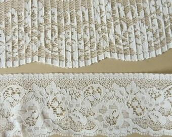 2 Ivory Nylon Laces Alencon Soft PLeated 5 1/2 Yards Lace 148b