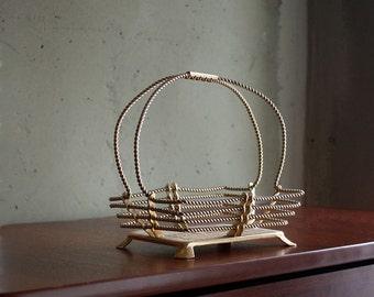 1950s Golden Wire Fruit Basket. Russian Moscow Souvenir.