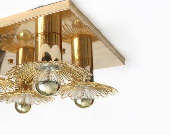 Rare 1970s Ceiling Lamp /Wall Light. Golden Filigree Flowers.
