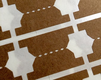 Traditional File Tab Label Stickers Choose your Color - Kraft White Gold Foil or Silver Foil