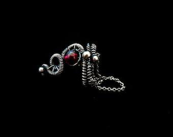 Ear Cuff Sterling Silver - Cartilage Earcuffs - Garnet Earrings - Fake Helix Piercings - 925 Silver Jewelry - Gothic Victorian
