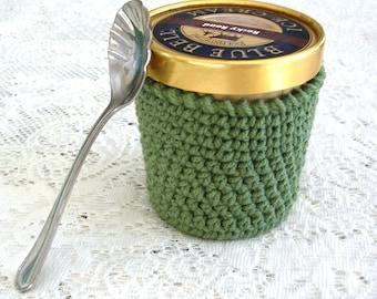 Ice Cream Cozy - Sage Green Pint Ice Cream Sleeve - Handmade Crochet Ice Cream Holder -Pint Size Cozy Cover - Cottage Decor