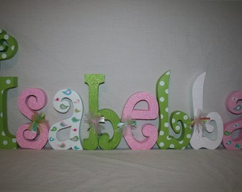 Nursery letters Pink and green nursery decor 8 letter set Baby name letters Hanging nursery letters Personalized letters Wooden letters