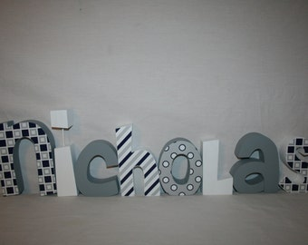 Wood letters, Custom wood letters, Childrens room decor, 12.00 per letter, Nursery name sign, Wood letters, Blue and gray room decor, Name