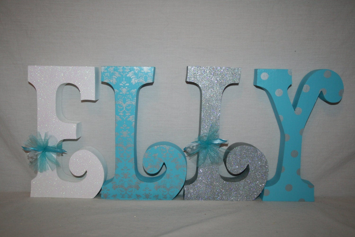 nursery letters baby girl wooden letters turquoise and silver. Black Bedroom Furniture Sets. Home Design Ideas
