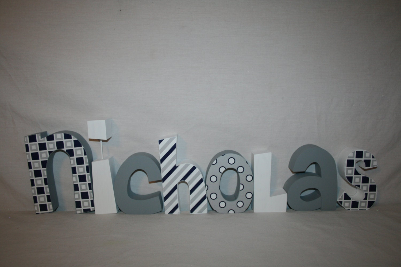 Letras madera letras de madera personalizadas decoraci n de - Letras en madera ...