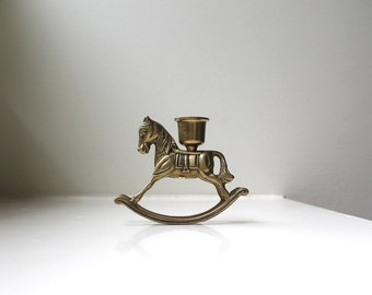 Vintage Brass Rocking Horse Candle Holder Retro Christmas