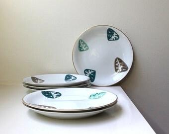 Rare Modernist Salad Plates Gold Trim Noritake Bone China Set of 6 1950's
