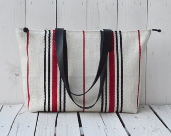 Zipper Handwoven Large Beach Bag, Striped Tote Bag, Weekender Diaper Bag, Leather strap, Oversized Diaper Bag, unique gift, mothers day