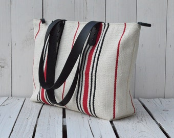 Zipper tote bag, striped beach bag, woven weekender messenger pack, black leather strap, diaper bag, unique gift for her, mothers day