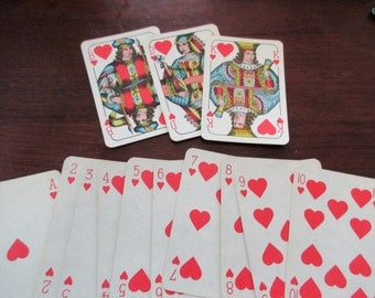 13 vintage Playing Cards - hearts, red, blue, king, 1940s, 1950s