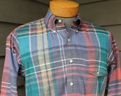 vintage 70's - 80's -Gant- Men's long sleeve 3 button collar shirt w/ locker loop. Colorful 'Authentic Indian Madras'. Medium