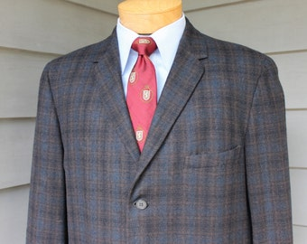vintage 1960's -Biltmore Clothes- Men's Flannel sack sport coat.  Black, Olive & Blue Tartan. Size 42 - 43 Short. Slightly distressed.