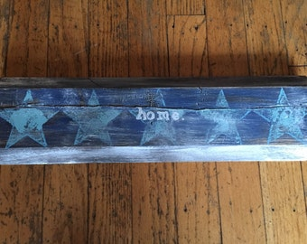 rustic blue reclaimed wood star home sign
