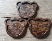 Set of 3 Pieces Teddy Bear Palm Wood Coaster // Animal Bear Shape Home Decoration Small Wood Plate