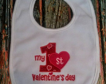 My 1st Valentine's Day Bib, holiday bib, baby bib, my first Valentine's bib