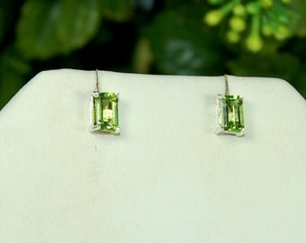 Peridot Earrings, Emerald Cut, Bright Apple Green, Sterling Silver, August Birthstone, Peridot Studs, Natural Peridot, Green Peridot