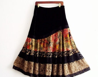 Gypsy Velvet and Lace Maxi Skirt