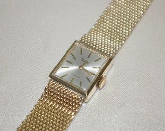 Vintage Pedre 10k Gold Filled 17 Jewel Swiss Mesh Band Wind Women's Dress Wrist Watch